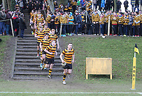 RBAI vs R S ARMAGH | Saturday 21st February 2015<br /> <br /> Lewis McNamara leads his team out during 2015 Ulster Schools Cup Quarter-Final between RBAI and Royal School Armagh at Osborne Park, Belfast, Northern Ireland.<br /> <br /> Picture credit: John Dickson / DICKSONDIGITAL