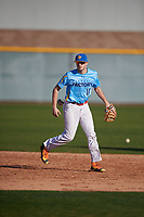 Drew Wiegman (10) of Carmel Catholic High School in Antioch, Illinois during the Baseball Factory All-America Pre-Season Tournament, powered by Under Armour, on January 13, 2018 at Sloan Park Complex in Mesa, Arizona.  (Mike Janes/Four Seam Images)
