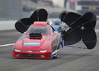 Feb 10, 2017; Pomona, CA, USA; NHRA top alcohol funny car driver Steve Gasparrelli during qualifying for the Winternationals at Auto Club Raceway at Pomona. Mandatory Credit: Mark J. Rebilas-USA TODAY Sports