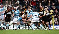 Photo: Richard Lane/Richard Lane Photography. London Wasps v Worcester Warriors. 01/01/2012. Wasps' Sam Jones attacks.