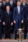 Real Madrid's president, Florentino Perez and King Felipe VI of Spain receive in audience to the winner of basketball King's Cup 2017, Real Madrid at Zarzuela Palace in Madrid, Spain. March 06, 2017. (ALTERPHOTOS/BorjaB.Hojas)