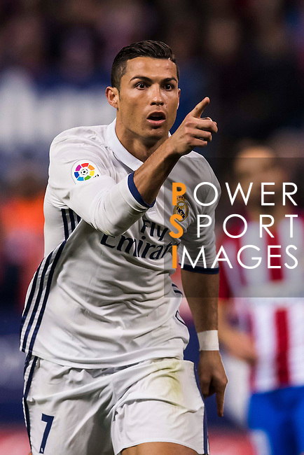 Cristiano Ronaldo of Real Madrid reacts during their La Liga match between Atletico de Madrid and Real Madrid at the Vicente Calderón Stadium on 19 November 2016 in Madrid, Spain. Photo by Diego Gonzalez Souto / Power Sport Images