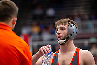 STANFORD, CA - March 7, 2020: Grant Willits of Oregon State University during the 2020 Pac-12 Wrestling Championships at Maples Pavilion.