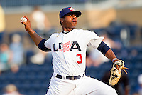 Relief pitcher Marcus Stroman #3 (Duke) of the USA Baseball Collegiate National Team in action against the Japan Collegiate National Team at the Durham Bulls Athletic Park on July 3, 2011 in Durham, North Carolina.  USA defeated Japan 7-6.  (Brian Westerholt / Four Seam Images)