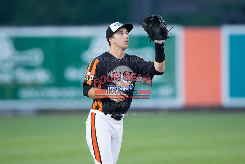 Aberdeen IronBirds shortstop Mason McCoy (6) on defense against the Hudson Valley Renegades at Leidos Field at Ripken Stadium on July 27, 2017 in Aberdeen, Maryland.  The IronBirds defeated the Renegades 3-0 in game two of a double-header.  (Brian Westerholt/Four Seam Images)