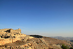 Samaria, ruins from the Hellenistic period on Mount Gerizim, tomb of Sheikh Ghanem from the 12th century is in the background