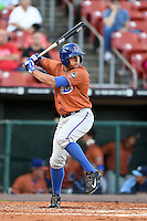 Durham Bulls outfielder Mikie Mahtook (7) at bat during a game against the Buffalo Bisons on July 10, 2014 at Coca-Cola Field in Buffalo, New  York.  Durham defeated Buffalo 3-2.  (Mike Janes/Four Seam Images)