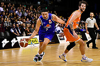 Taane Samuel of the Wellington Saints dribbles the ball during the round two NBL match between the Wellington Saints and the Southland Sharks at TSB Bank Arena, Wellington, New Zealand on Friday 7 May 2021.<br /> Photo by Masanori Udagawa. <br /> www.photowellington.photoshelter.com