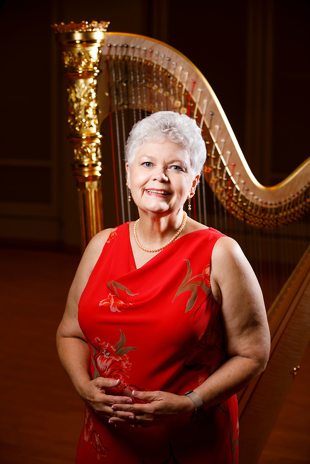 USA International Harp Competition Board of Directors member Nancy Jones Miller poses for a portrait during the 11th USA International Harp Competition at Indiana University in Bloomington, Indiana on Saturday, July 13, 2019. (Photo by James Brosher)