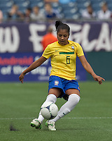 Brazilian defender Maurine (6) passes the ball. In an international friendly, Canada defeated Brasil, 2-1, at Gillette Stadium on March 24, 2012.