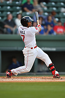 Left fielder Tyler Hill (7) of the Greenville Drive bats in a game against the Lexington Legends on Wednesday, April 12, 2017, at Fluor Field at the West End in Greenville, South Carolina. Greenville won, 4-1. (Tom Priddy/Four Seam Images)