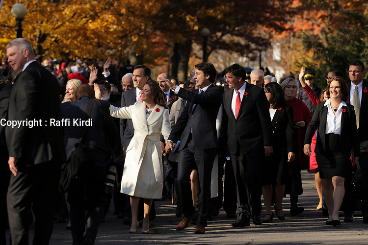 Justin Trudeau,  Prime Minister-designate and members of the 29th Canadian ministry on the grounds of Rideau Hall in Ottawa, Ontario, on Wednesday, November 4, 2015.<br /> <br /> PHOTO : Raffi Kirdi<br /> - Agence Quebec Presse