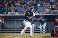 Carlos Sepulveda (27) of the Tennessee Smokies at bat against the Chattanooga Lookouts at Smokies Stadium on July 31, 2021, in Kodak, Tennessee. (Brian Westerholt/Four Seam Images)