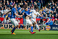 LEICESTER, ENGLAND - APRIL 18: Nelson Oliveira of Swansea City  tries to beak through the Leicester defence during the Premier League match between Leicester City and Swansea City at The King Power Stadium on April 18, 2015 in Leicester, England.  (Photo by Athena Pictures/Getty Images)
