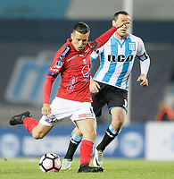 AVELLANEDA - ARGENTINA - 29 - 06 - 2017: Luciano Aued (Der.) jugador de Racing Club, disputa el balon con Jhon Hernandez (Izq.) jugador de Deportivo Independiente Medellin, durante partido entre Racing Club de Argentina y Deportivo Independiente Medellin de Colombia, por la segunda fase llave 1 por la Copa Conmebol Sudamericana 2017 en el estadio Juan Domingo Peron, de la ciudad de Avellaneda. / Luciano Aued (R) player of Racing Club, figths for the ball with Jhon Hernandez (L) player of Deportivo Independiente Medellin, during a match between Racing Club of Argentina and Deportivo Independiente Medellin of Colombia of the second phase, key 1 for the Copa Conmebol Sudamericana 2017, at the Juan Domingo Peron Stadium in Avellaneda city. Photo: VizzorImage / Javier Garcia Martino / Photogamma / Cont.