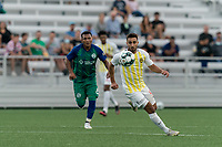 HARTFORD, CT - AUGUST 17: Stavros Zarokostas #9 of Charleston Battery collects a pass during a game between Charleston Battery and Hartford Athletic at Dillon Stadium on August 17, 2021 in Hartford, Connecticut.