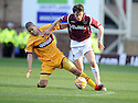 31/10/2009  Copyright  Pic : James Stewart.sct_jspa03_motherwell_v_hearts  . :: RUBEN PALAZUELOS IS CHALLENGED BY GILES COKE :: .James Stewart Photography 19 Carronlea Drive, Falkirk. FK2 8DN      Vat Reg No. 607 6932 25.Telephone      : +44 (0)1324 570291 .Mobile              : +44 (0)7721 416997.E-mail  :  jim@jspa.co.uk.If you require further information then contact Jim Stewart on any of the numbers above.........
