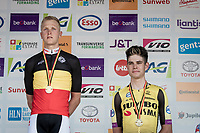 2 cyclocross friends Merlier & van Aert sharing the National Road Championships 2019 podium<br /> <br /> Belgian National Road Championships 2019 - Gent podium:<br /> 1/ Tim Merlier (BEL/Corendon - Circus)<br /> 2/ Timothy Dupont (BEL/Wanty - Gobert)<br /> 3/ Wout van Aert (BEL/Jumbo - Visma)<br /> <br /> ©kramon