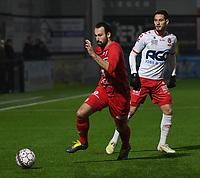 FC GULLEGEM - KV KORTRIJK :<br /> vriendschappelijke wedstrijd<br /> Jeroen Doornaert (L) en Petar Jakubech (R)<br /> <br /> Foto VDB / Bart Vandenbroucke