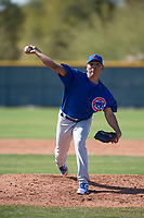 Chicago Cubs relief pitcher Jesus Camargo (41) during a Minor League Spring Training game against the Oakland Athletics at Sloan Park on March 19, 2018 in Mesa, Arizona. (Zachary Lucy/Four Seam Images)