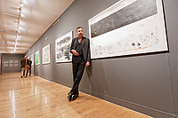 "Pictured: Jim Sclavunos. Wednesday 03 April 2019<br /> Re: Press call before the opening of Stefanos Rokos' exhibition ""No More Shall We Part"" with paintings based on the 2001 Nick Cave and The Bad Seeds album with the same title, Benaki Museum, Athens, Greece."