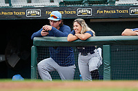 FCL Rays pitcher Brendan McKay (49) and Mental Performance Coach Carla Hodel during a game against the FCL Pirates Gold on July 26, 2021 at LECOM Park in Bradenton, Florida.  (Mike Janes/Four Seam Images)