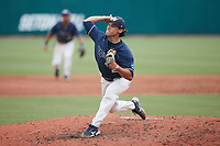 Wingate Bulldogs relief pitcher Sam Broderson (21) in action against the Central Missouri Mules during the 2021 DII Baseball National Championship at Coleman Field at the USA Baseball National Training Complex on June 12, 2021 in Cary, North Carolina. The Bulldogs defeated the Mules 5-3. (Brian Westerholt/Four Seam Images)