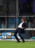 Calcio, Serie A: Inter Milano - Juventus, Giuseppe Meazza stadium, October 6 2019.<br /> Inter's coach Antonio Conte reacts during the Italian Serie A football match between Inter and Juventus at Giuseppe Meazza (San Siro) stadium, October 6, 2019.<br /> UPDATE IMAGES PRESS/Isabella Bonotto
