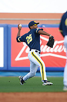 Michigan Wolverines right fielder Johnny Slater (25) during the second game of a doubleheader against the Canisius College Golden Griffins on February 20, 2016 at Tradition Field in St. Lucie, Florida.  Michigan defeated Canisius 3-0.  (Mike Janes/Four Seam Images)