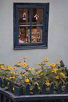Europe/République Tchèque/Prague:la ruelle d'Or ,ruelle historique du Château de  Prague.A l'origine les gardes du Château logeaient dans ces maisonnettes.Ce sont des orfèvres qui vécurent ici au XVII qui donnèrent leur nom à la rue