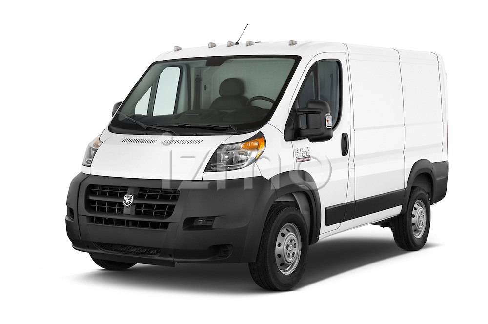 2017 Ram ProMaster 1500 118 WB Low Roof 2 Door Cargo Van angular front stock photos of front three quarter view