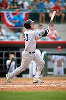 Daytona Tortugas Tyler Stephenson (30) hits a home run in the top of the fifth inning during a game against the Florida Fire Frogs on April 7, 2018 at Osceola County Stadium in Kissimmee, Florida.  Daytona defeated Florida 4-3 in a six inning rain shortened game.  (Mike Janes/Four Seam Images)