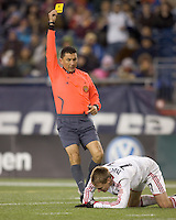 Chicago Fire forward Chris Rolfe (17) is issued a yellow card warning after a breakaway attempt and apparent collision with the goal keeper. The New England Revolution tied the Chicago Fire, 0-0, at Gillette Stadium on October 17, 2009.