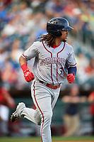 Syracuse Chiefs shortstop Emmanuel Burriss (3) runs to first base during a game against the Buffalo Bisons on July 3, 2017 at Coca-Cola Field in Buffalo, New York.  Buffalo defeated Syracuse 6-2.  (Mike Janes/Four Seam Images)