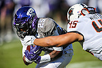 TCU Horned Frogs wide receiver KaVontae Turpin (25) in action during the game between the Oklahoma State Cowboys and the TCU Horned Frogs at the Amon G. Carter Stadium in Fort Worth, Texas.