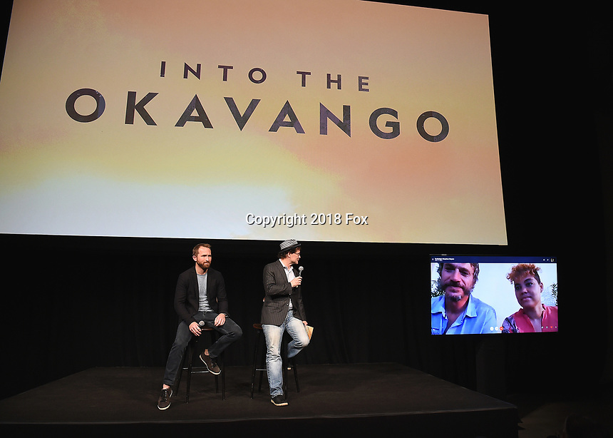 """HOLLYWOOD, CA - DECEMBER 4:   Director Neil Gelinas, Matthew Carey, Steve Boyes and Adjany Costa at National Geographic's """"Into the Okavango"""" Premiere & Reception at at NeueHouse on December 4, 2018 in Hollywood, California. (Photo by Frank Micelotta/NatGeo/PictureGroup)"""