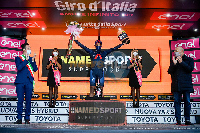 Jhonatan Manuel Narvaez Prado (ECU) Ineos Grenadies wins solo Stage 12 of the 103rd edition of the Giro d'Italia 2020 running 204km from Cesenatico to Cesenatico, Italy. 15th October 2020.  <br /> Picture: LaPresse/Marco Alpozzi | Cyclefile<br /> <br /> All photos usage must carry mandatory copyright credit (© Cyclefile | LaPresse/Marco Alpozzi)