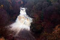 The dramatic 27 metre high Corra Linn and the River Clyde, New Lanark, South Lanarkshire