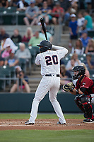 Dermis Garcia (20) of the Somerset Patriots at bat against the Altoona Curve at TD Bank Ballpark on July 24, 2021, in Somerset NJ. (Brian Westerholt/Four Seam Images)