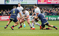 11 January 2020; Marty Moore of Ulster is tackled by Rabah Slimani during the Heineken Champions Cup Pool 3 Round 5 match between ASM Clermont Auvergne and Ulster at Stade Marcel-Michelin in Clermont-Ferrand, France. Photo by John Dickson/DICKSONDIGITAL