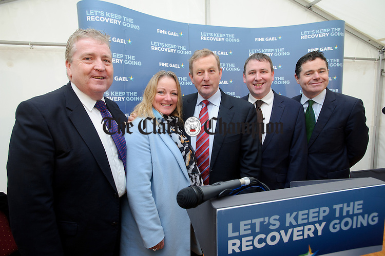 Pat Breen, TD, Councillor Mary Howard, Enda Kenny, Taoiseach, Joe Carey, TD and Tourism Minister Paschal Donohoe,TD at Loop Head to launch the Fine Gael tourism initiative. Photograph by John Kelly.