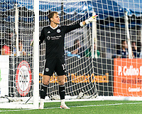 HARTFORD, CT - AUGUST 17: Jeff Caldwell #13 of Hartford Athletic sets the wall during a game between Charleston Battery and Hartford Athletic at Dillon Stadium on August 17, 2021 in Hartford, Connecticut.
