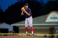 Lowell Spinners relief pitcher Lukas Young (47) gets ready to deliver a pitch during a game against the Batavia Muckdogs on July 11, 2017 at Dwyer Stadium in Batavia, New York.  Lowell defeated Batavia 5-2.  (Mike Janes/Four Seam Images)