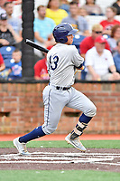 Princeton Rays catcher Roberto Alverez (13) swings at a pitch during a game against the Johnson City Cardinals at TVA Credit Union Ballpark on August 9, 2018 in Johnson City, Tennessee. The Rays defeated the Cardinals 10-2. (Tony Farlow/Four Seam Images)
