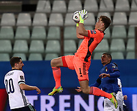 Footbal Soccer: FIFA World Cup Qatar 2022 Qualification, Italy - Northern Ireland, Ennio Tardini stadium, Parma, March 26, 2021.<br /> Northern Ireland's goalkeeper Bailey Peacock-Farrell (C) in action during the FIFA World Cup Qatar 2022 qualification, football match between Italy and Northern Ireland, at Ennio Tardini stadium in Parma on March 26, 2021.<br /> UPDATE IMAGES PRESS/Isabella Bonotto