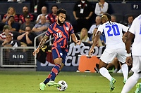 KANSAS CITY, KS - JULY 15: Eryk Williamson #19 of the United States with the ball during a game between Martinique and USMNT at Children's Mercy Park on July 15, 2021 in Kansas City, Kansas.