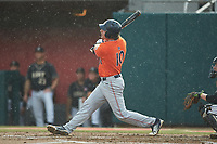 Edouard Julien (10) of the Auburn Tigers follows through on his swing against the Army Black Knights at Doak Field at Dail Park on June 2, 2018 in Raleigh, North Carolina. The Tigers defeated the Black Knights 12-1. (Brian Westerholt/Four Seam Images)