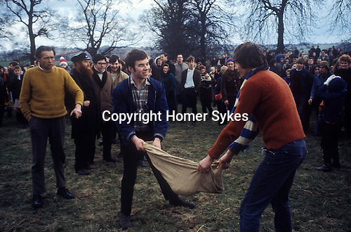 Bottle Kicking and Hare Pie Scrambling. Hallaton Leicestershire UK 1970s. 1971 or 1972.<br />