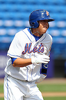 St. Lucie Mets third baseman Wilmer Flores #4 during a game against the Jupiter Hammerheads at Digital Domain Park on May 2, 2012 in Port St. Lucie, Florida.  St. Lucie defeated Jupiter 3-2.  (Mike Janes/Four Seam Images)
