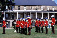 New Brunswick, Fredericton, NB, Canada, Re-enactment of the Changing of the Guards at Officer's Square in Fredericton. Soldiers stand in formation.